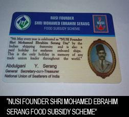 NUSI Founder Shri Mohamed Ebrahim Serang Food Subsidy Scheme